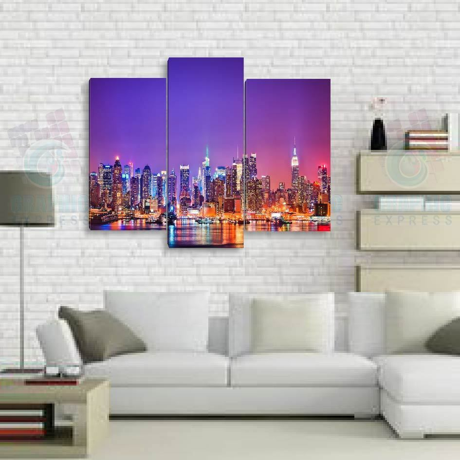 130x100cm- Kit 3 TOILES IMPRIMEE TABLEAU DECORATION  - NEW YORK-NY-02 -3T01