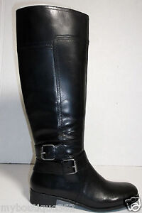 NINE-WEST-WOMENS-leather-TALL-BOOTS-BLACK-SIZE-6M-NEW-IN-BOX