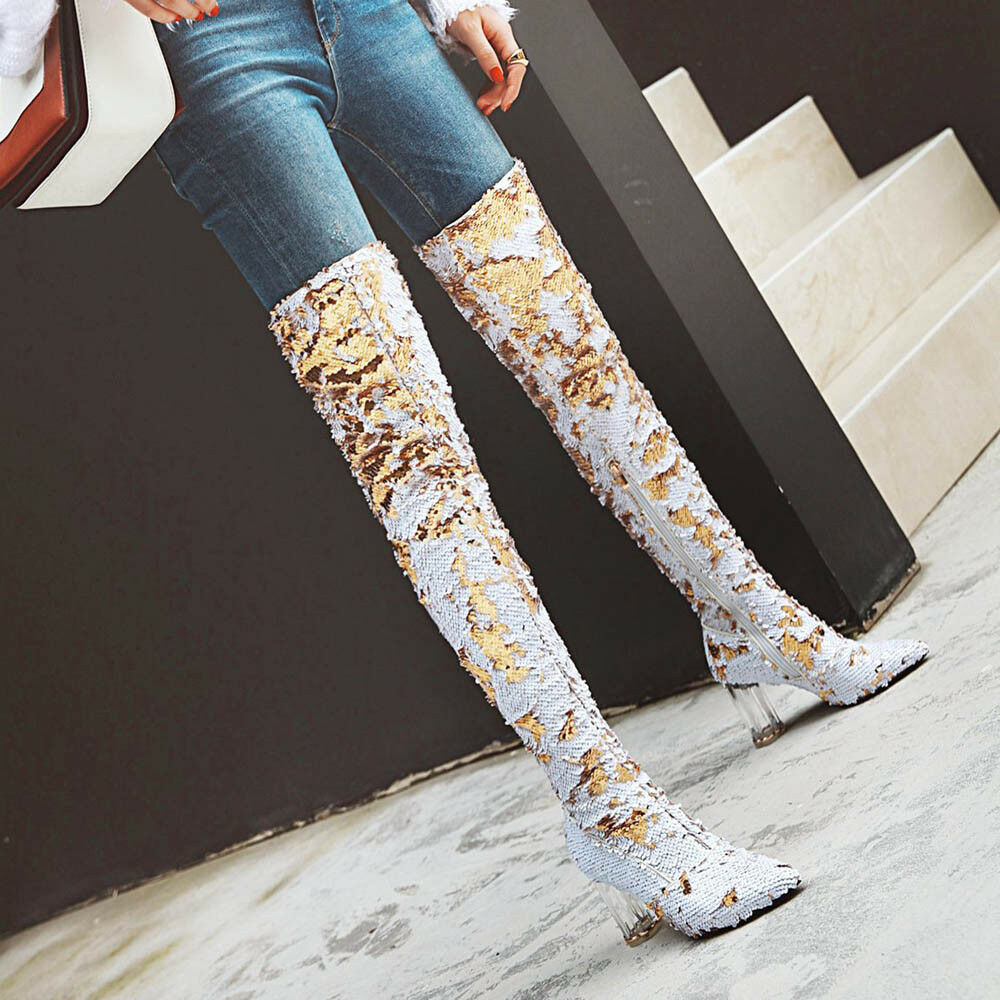 mujer Glitter Bling Zip High Heels Pointed Toe Over Knee botas zapatos Talla 32-43