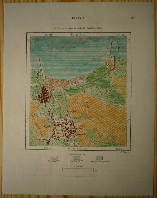 1889 Perron map BATAVIA & PORT OF TANJUNG PRIOK, JAKARTA, INDONESIA (#79)