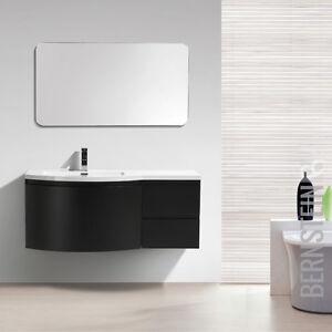 Details zu Badmöbel Set LAURANCE 1200 Weiß Hochglanz Schwarz matt  Waschbecken Unterschrank
