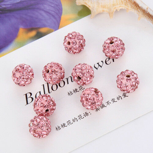 20Pcs 8//10mm Space Loose Beads Crystal Round Ball DIY Jewelry Finding Crafts