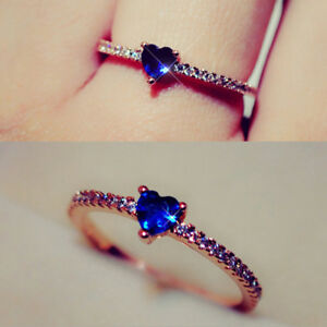 Platinum-plated-Lovely-Exquisite-Princess-Rose-Gold-Color-Heart-Ring-Jewelry-Z