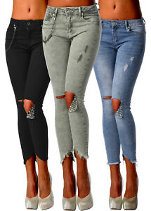 Sexy-Women-039-s-Stretchy-Fashion-Ripped-Jeans-Trousers-With-Chain-Skinny-Slim-E-267