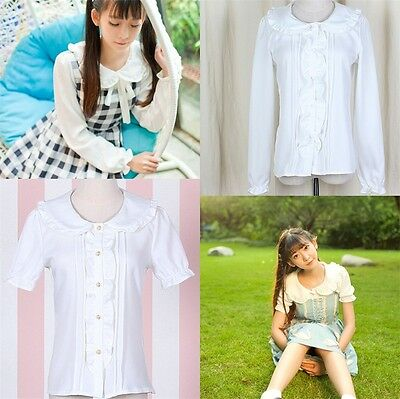 Kawaii Women Lolita Peter Pan Collar Girls White Blouse Long/Short Sleeves Shirt