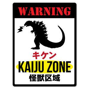 Warning Kaiju Zone Japanese Monster Sticker Funny Car Stickers