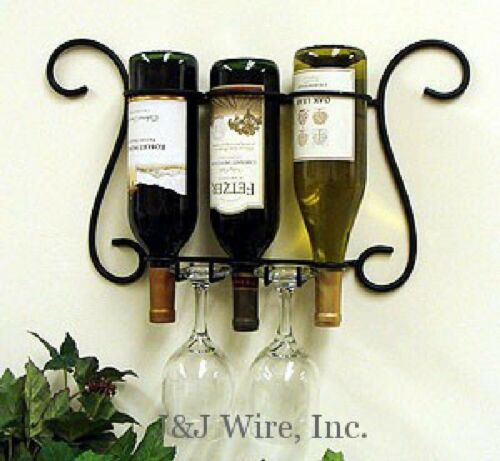 """WALL 3 BOTTLE WINE AND GLASS HOLDER BLACK METAL 19/"""" WIDE 11.5/"""" TALL"""