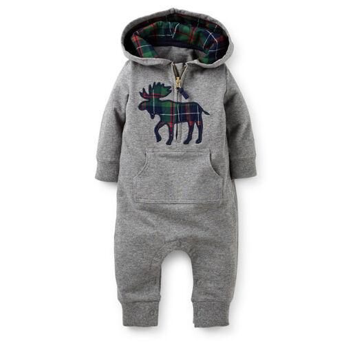 Kids Baby Boy Warm Infant cartoon Romper jumpsuit Bodysuit Clothes Outfit 2Color