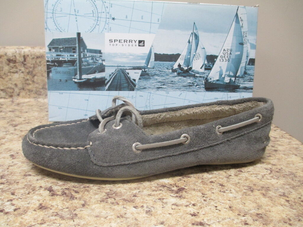 Sperry Top Sider Skiff Lace Graphite Suede Boat Schuhes New with Box