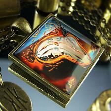 Salvador Dali Melting Clock Abstract Painting Antique Bronze Glass Necklace