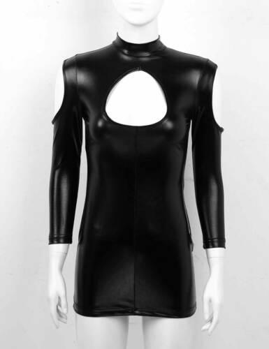 Womens Wet Look Keyhole Mini Dress Leather Lace Up Bodycon Dress Party Evening