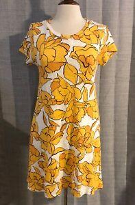 Zara-Trafaluc-Bright-Yellow-Flower-Floral-Cotton-Open-Back-Dress-Large