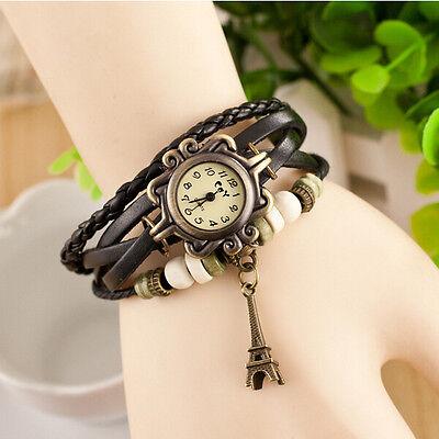 Hot Retro Rome Hand Weaves Leather Charm Eiffel Tower Bracelet Quartz WristWatch