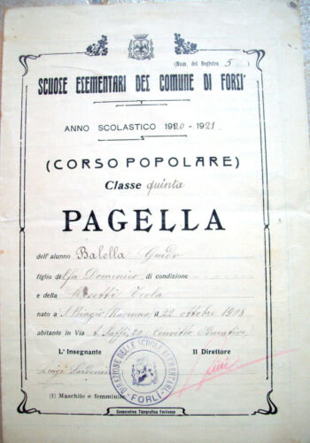 1921 REPORT CARD EDUCATIONAL ELEMENTARY SCHOOL OF FORLI' CORSO POPULAR