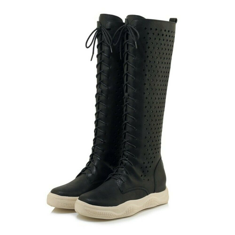 Womens PU Leather Lace Lace Lace Up Knee High Casual Summer Boots Hollow Out Punk shoes sz 06cf8b