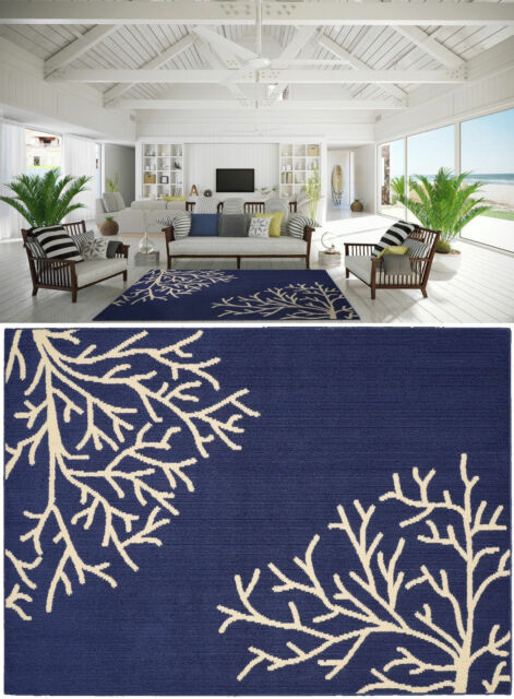 New Area Rug Carpet Coastal Beach Tropical Ocean Sea C Navy Blue Ivory 5 X 7