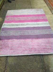 NEXT purple/pinks/grey stripe rug   eBay