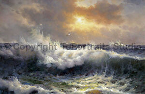 Stormy-Sea-With-Seagulls-Original-Handmade-Oil-Painting-on-Canvas-36-034-x-24-034