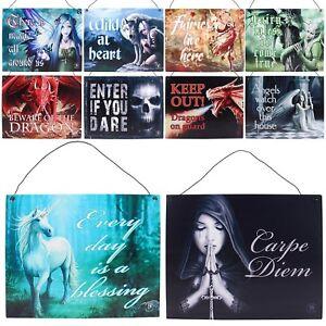 Anne-Stokes-Metal-Colgante-Puerta-Letreros-Fantasia-Gotico-unicornio-Hada-Angel