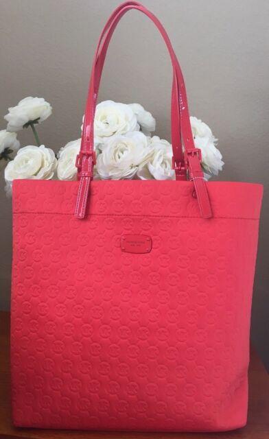 fa36075a77beaf NWT Michael Kors MK Logo Purse Tote Shoulder Hand Bag Neoprene Sienna  Orange Red