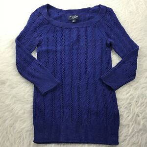 American-Eagle-Women-039-s-Size-XS-Pullover-Sweater-Blue-Thin-Knit-3-4-Sleeve