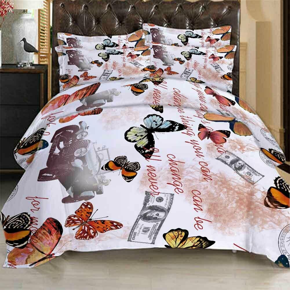 Farbe Butterfly 3D Printing Duvet Quilt Doona Covers Pillow Case Bedding Sets