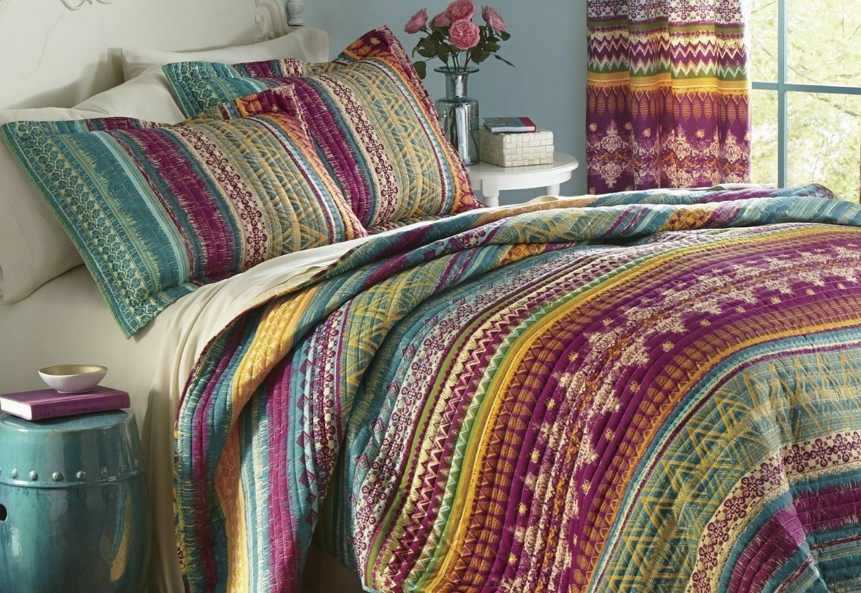 BEAUTIFUL MODERN SOUTHWEST LODGE WESTERN GLOBAL BOHEMIAN TUCSON QUILT SET NEW