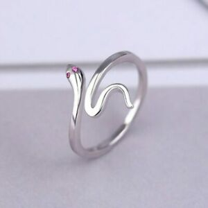 Damen-Ring-Schlange-Echt-Sterling-Silber-925-Ring-Zirkonia-Offen-Geschenk