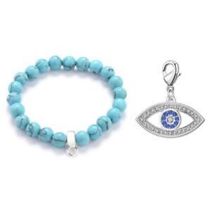 Evil Eye Synthetic Turquoise Gemstone Charm Bracelet