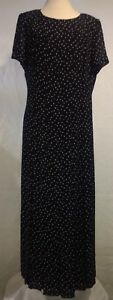 Cynthia Howie Womens Size 14 Black Polka Dot Dress for Maggy Boutique Long Dress