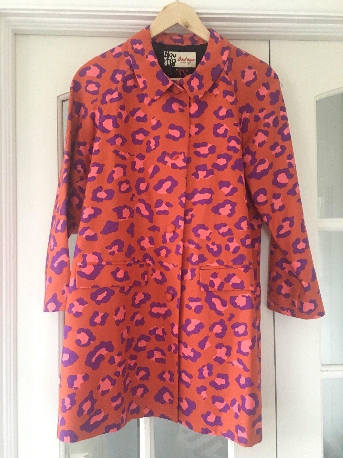 Boutique By Jaeger Cotton Leopard Animal Print Button Coat orange Purple BNWT