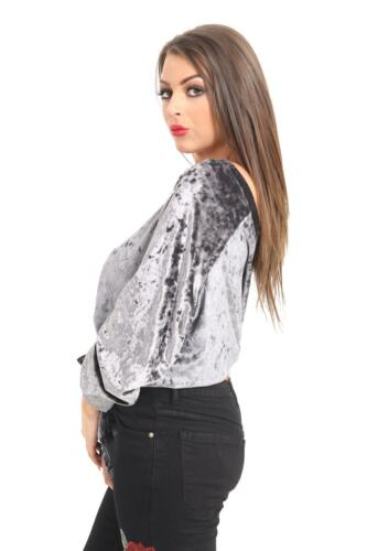 Le donne zoonag Donna Velluto ONE OFF SPALLA Long Sleeve cravatta T Shirt Top