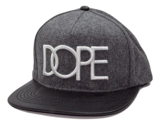 8c0179dcb3fb6 DOPE Couture Grey Black Wool Vegan Leather Visor Flat Bill Snapback ...