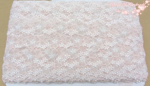 """1.5/""""*1Y Embroidered Tulle Lace Trim~Light Pink+White+Silver~Sweet Angel~Wedding~"""