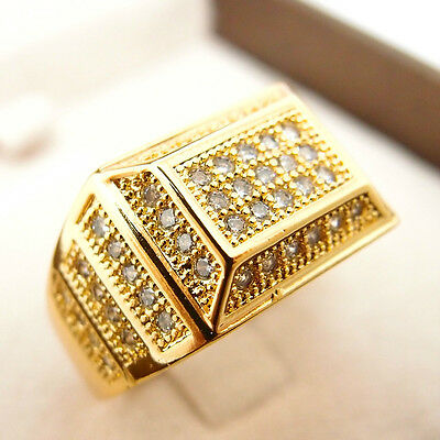 HipHop Exclusiv Crystal 24K Yellow Gold Filled Glint Men's Ring R38 size 9#-12#