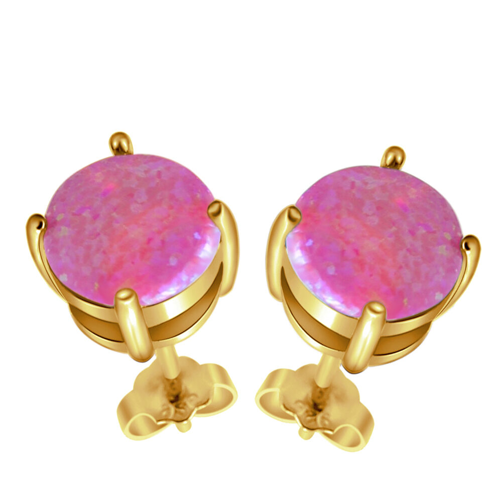Charm Purple Round Australia Opal .HOT XMAS GIFTS .18k Yellow gold Earrings