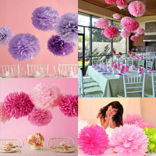 10x gemischte Seidenpapier Pom Poms hängen Garland Hochzeit Party Decor-SL