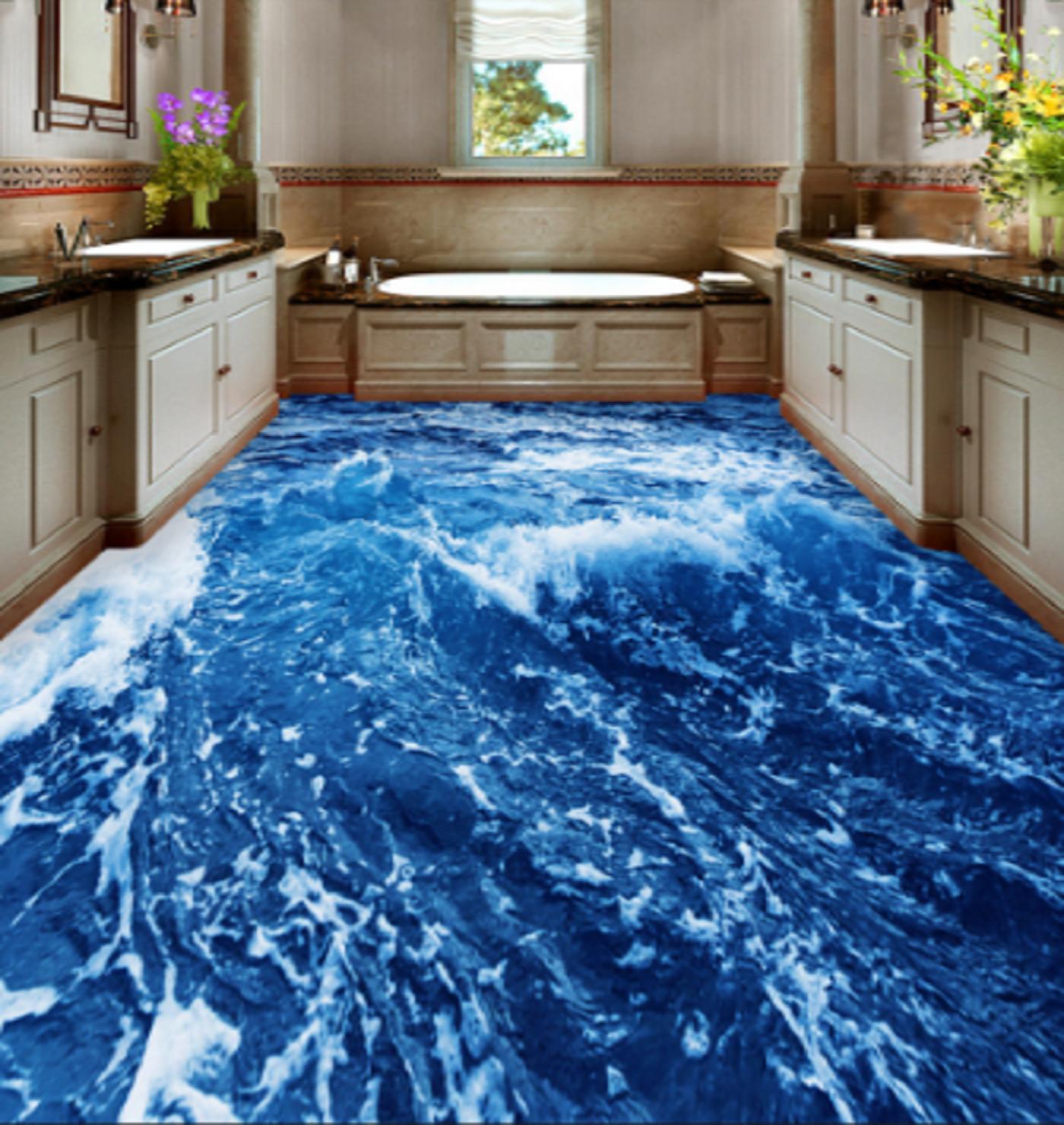 3D Cold Sea Water 42 Floor WallPaper Murals Wall Print 5D AJ WALLPAPER UK Lemon