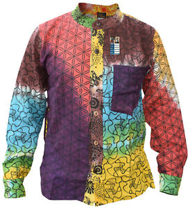 Tie-Dye-algodon-con-botones-Camisa-De-Abuelo-Fino-Informal-Festival-CLARO-Hippy