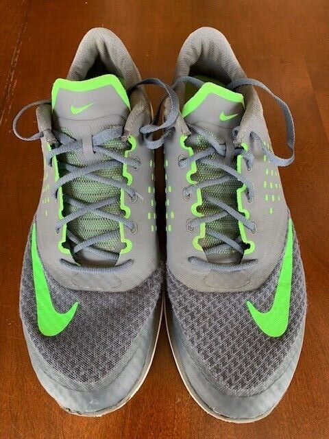 new arrival 0cf11 723b9 NIKE Fs Lite Run 2 Men Grey- Voltage Green- White Running Shoes Size 10.5