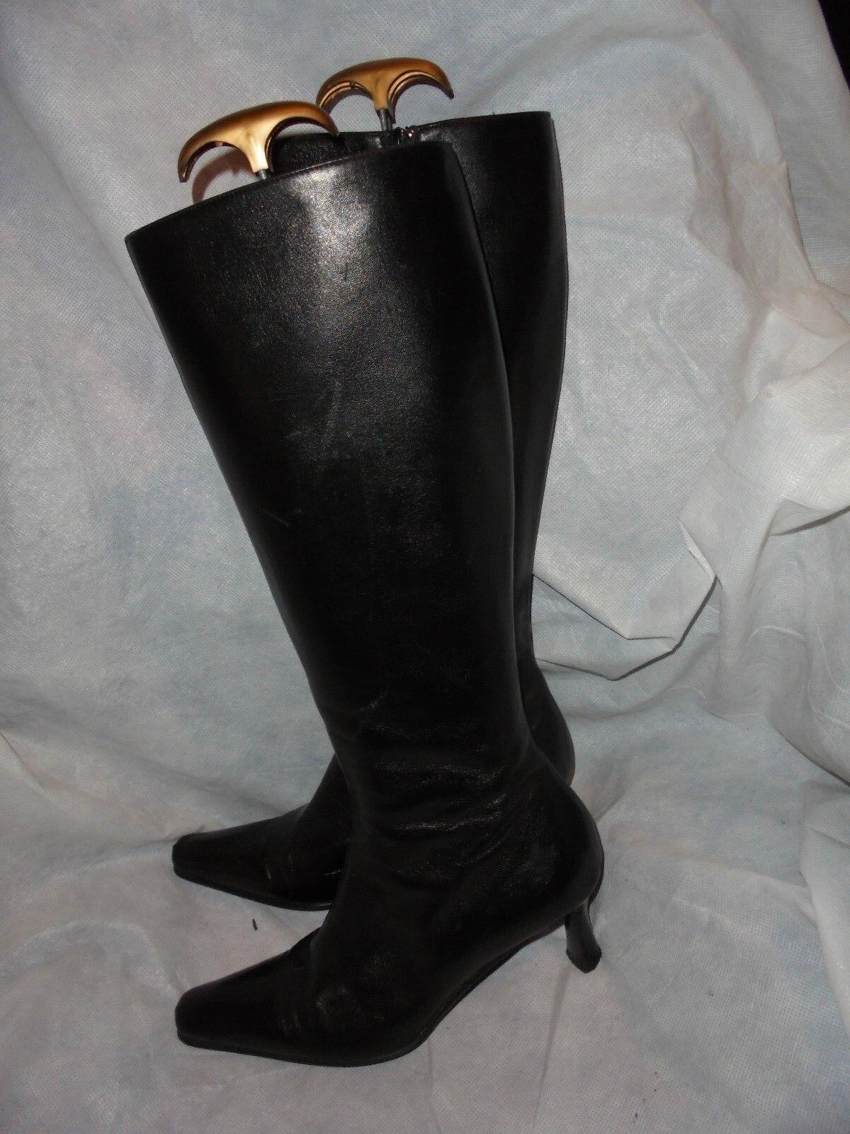 CAREL damen schwarz LEATHER ZIP KNEE KNEE KNEE HIGH Stiefel  Größe UK 6 EU 39  VCG 6f42aa