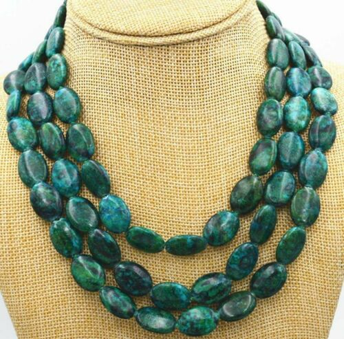 Fashion Jewelry 13x18mm Azurite Chrysocolle Gem Ovale 3 rangées collier AAA