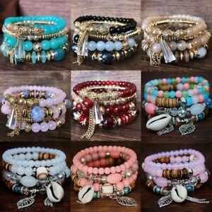 4pcs-set-Boho-Fashion-Crystal-Multilayer-Beaded-Bracelet-Stretch-Women-Jewelry