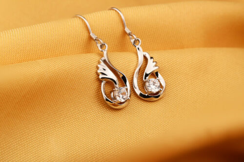Noble joyas set-cadena-aretes con circonita ala de ángel trébol z1184