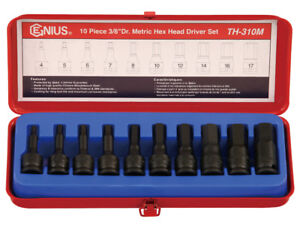 """3//8/"""" Drive 7 Piece Hex Driver Metric Set GRE1297MH Brand New!"""