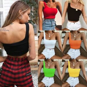 Casual-Bandeau-Women-Single-Strap-Bra-Yoga-Vest-Tube-Crop-Top-Single-Shoulder