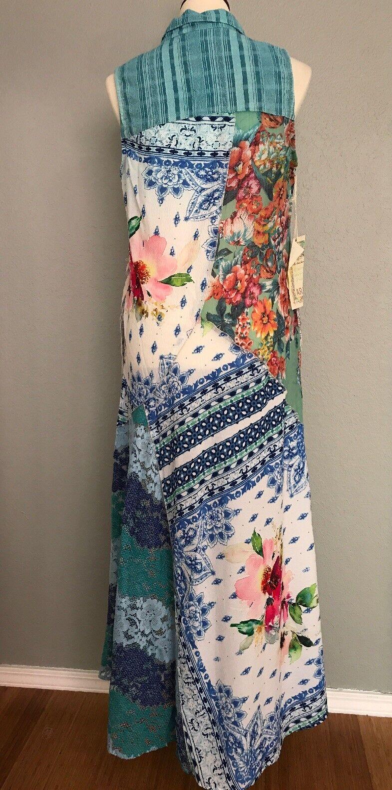 NWT ARATTA Enchanted Gardens Maxi Collar Button Down Sleeveless Shirt Dress M