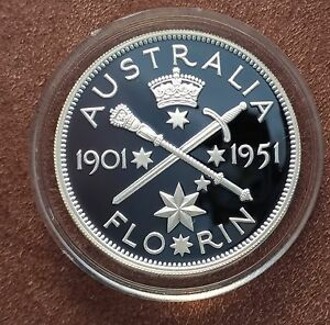 Australian-1998-20-cent-proof-of-a-1951-Florin-ex-Masterpiece-in-silver-set