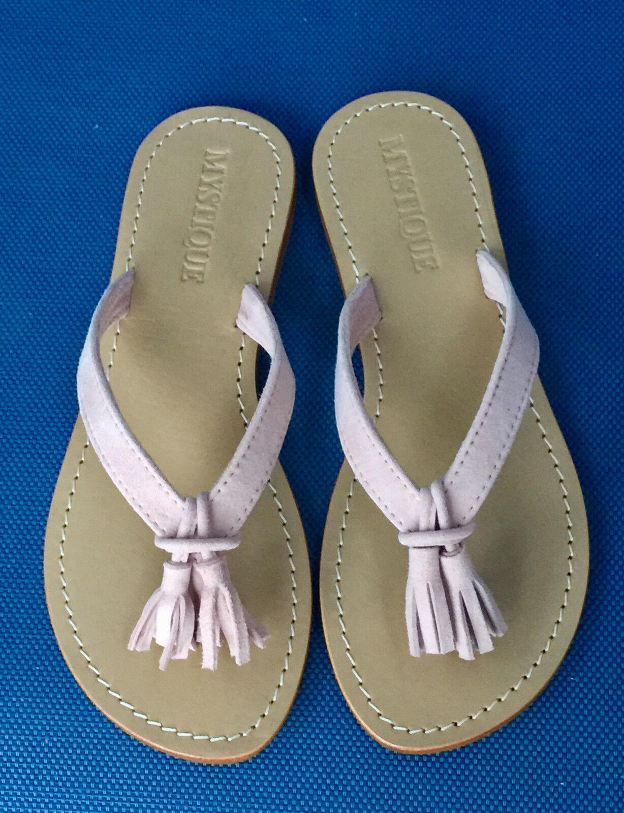 MYSTIQUE Tassel Fringe Suede Leather Thong Sandals Flip Flops  138 PINK NEW 7