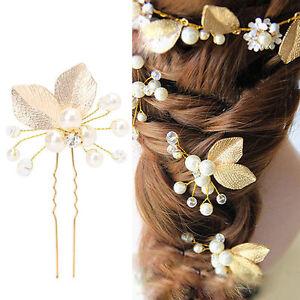 Women-039-s-Hair-Clip-Leaf-Rhinestone-Faux-Pearls-Hairpin-Bridal-Bobby-Pin-Jewelry
